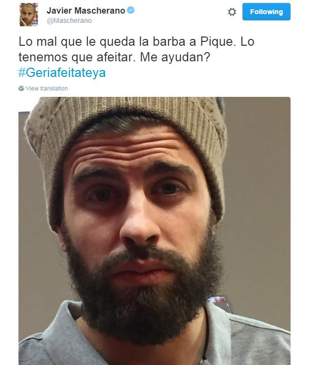BLOG: Mascherano provoca visual de Piqué e faz campanha para barbear o companheiro