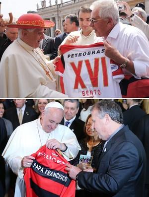 Montagem Papa camisa Flamengo (Foto: Editoria de Arte)