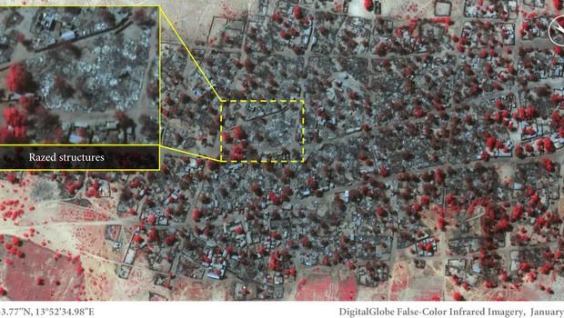 Imagem de satélite divulgada pela Anistia Internacional mostra estruturas queimadas após ataque do Boko Haram a uma base militar em Baga, Nigéria (Foto: DigitalGlobe/Anistia Internacional)