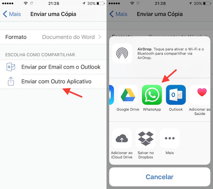 Opção para definir o WhatsApp no compartilhamento de um documento no Word para iPhone (Foto: Reprodução/Marvin Costa)