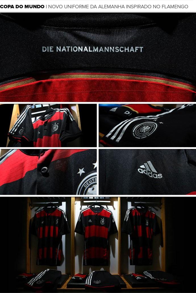 Mosaico Novo uniforme da Alemanha inspirado no Flamengo (Foto: Reprodução - Facebook Adidas)