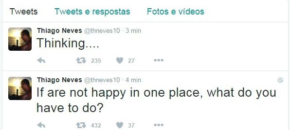 BLOG: Enigmático, Thiago Neves posta no Twitter se dizendo infeliz nos Emirados Árabes