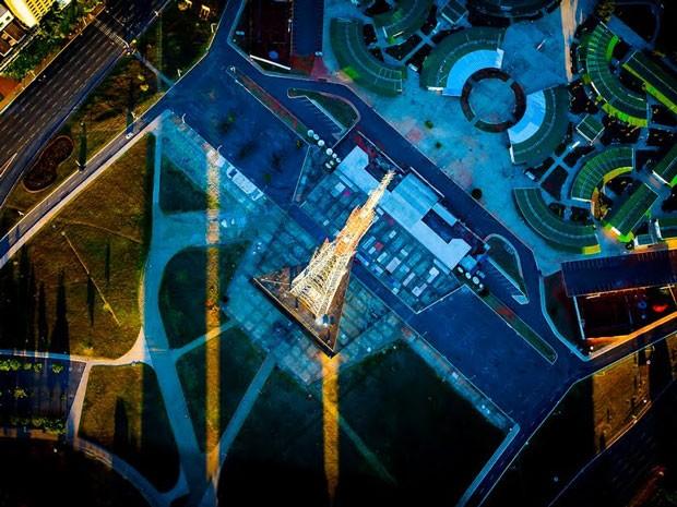 Vista superior da Torre de TV, na área central de Brasília (Foto: Bento Viana/Divulgação)