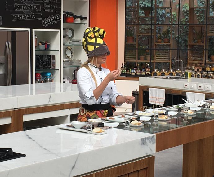 Danielle Winits participa do teste cego da Prova de Imunidade do 'Super Chef' (Foto: Ícaro Martins/Gshow)
