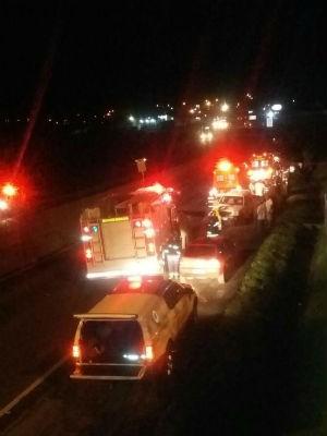 O acidente aconteceu na Av. Presidente Kennedy, próximo ao trevo Trevo Eurico Batista Rosas. (Foto: Dircelia Correia/ Arquivo pessoal)