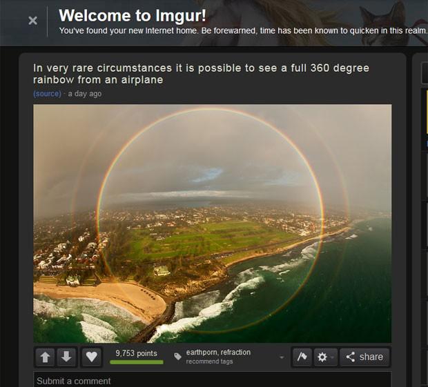 Foto de arco-íris em 360º fez sucesso na web (Foto: Reprodução/Imgur/Oskarslidums)