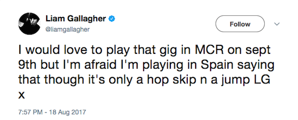 A mensagem de Liam Gallagher dizendo que atoraria tocar no show em Manchester (Foto: Twitter)