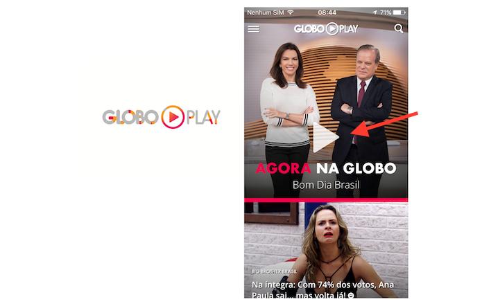 Acessando o aplicativo do Globo Play no celular (Foto: Reprodução/Marvin Costa)