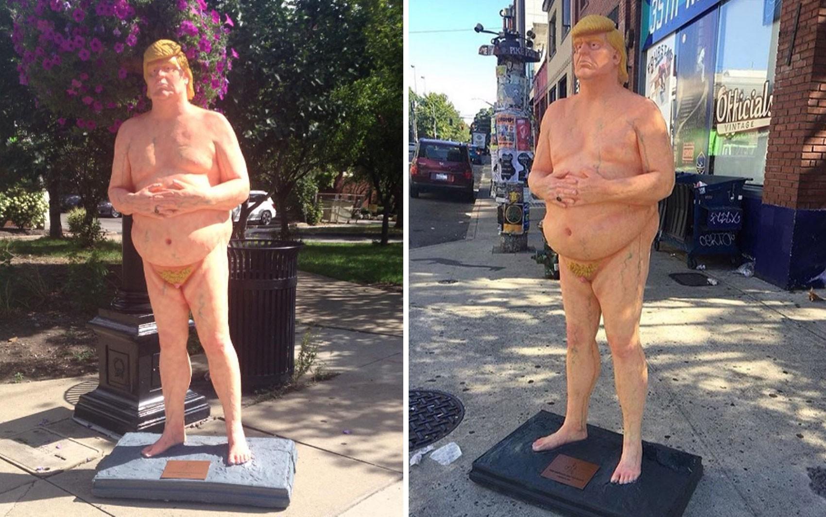 Estátuas satirizam Donald Trump em Cleveland e Seattle, nos EUA (Foto: Reprodução/Instagram/Indecline)