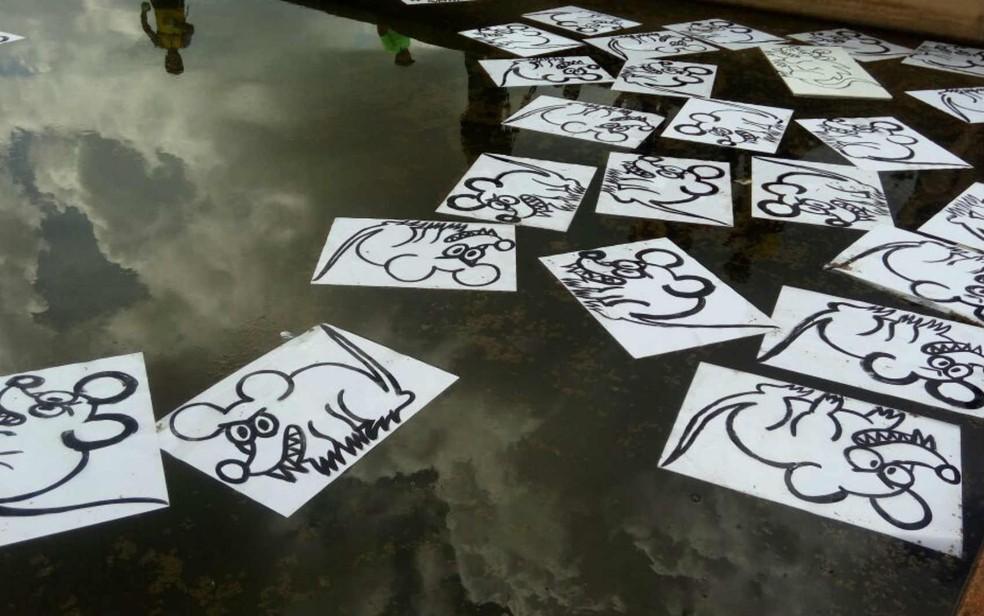Imagens de ratos são lançadas no espelho d'água do Congresso Nacional, em Brasília (Foto: Lais Lis/G1)