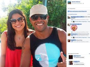 Sandra e o major em foto postada em uma rede social da professora. Salvador Bahia (Foto: Reprodução/ Facebook)