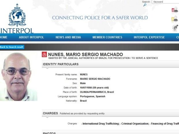 Nome de Mario Sergio Machado Nunes consta na lista da Interpol (Foto: Reprodução / Interpol)