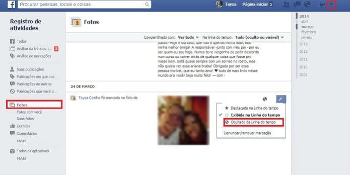 Tirar as fotos em que está marcado da linha do tempo é um processo simples no Facebook (Foto: Reprodução/Taysa Coelho)