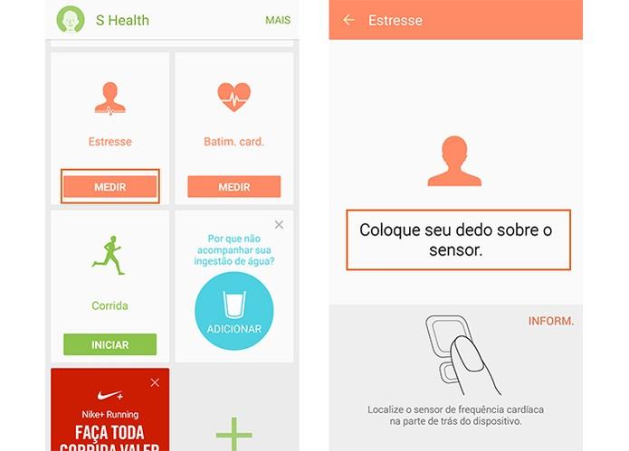 Abra o app S Health e inicie a o cálculo do nível de estresse pelo medidor de batimento cardíaco no celular (Foto: Reprodução/Barbara Mannara)