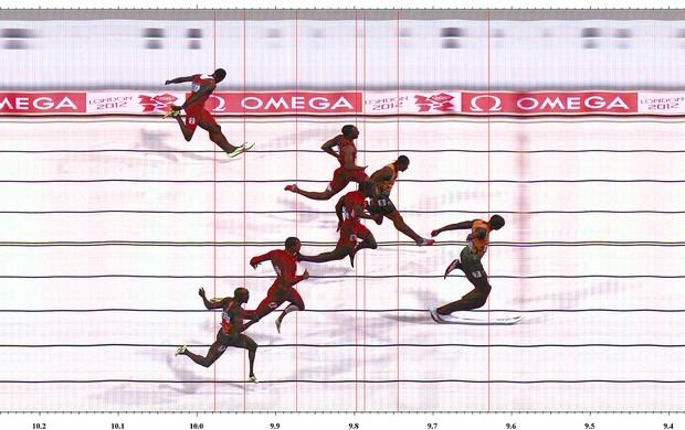Photofinish Final dos 100M, Bolt (Foto: Divulgação)
