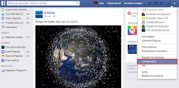 Menu fica no topo da página do Facebook (foto: Reprodução/João Kurtz)