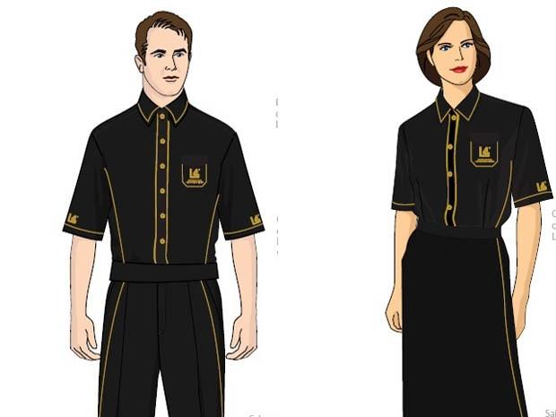 """Croquis mostram como serão os uniformes inspirados noa """"lanterninhas"""" da época em que o cinema foi inaugurado, em 1926 (Foto: Divulgação/Grupo Luiz Severiano Ribeiro)"""