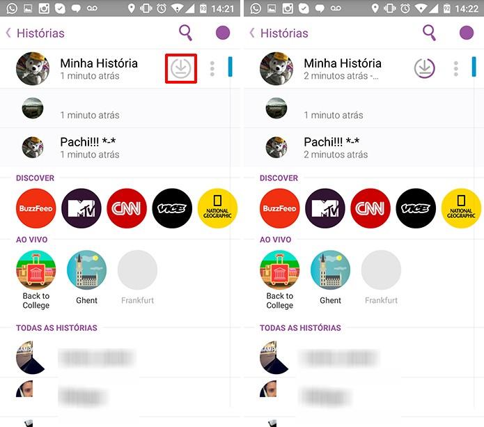 Usuário pode salvar todas as histórias de uma só vez no Snapchat (Foto: Reprodução/Elson de Souza)