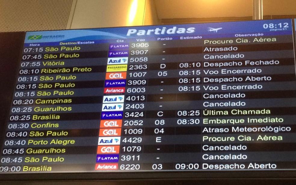 Voos estão sendo cancelados por causa da forte neblina no Rio (Foto: Bruno Albernaz / G1)