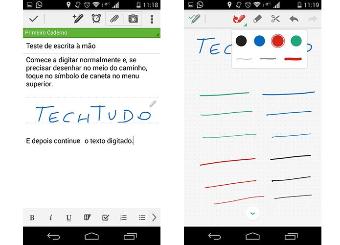 Manuscrito do Evernote permite criar conteúdo à mão dentro de nota comum (Foto: Reprodução/Paulo Alves)