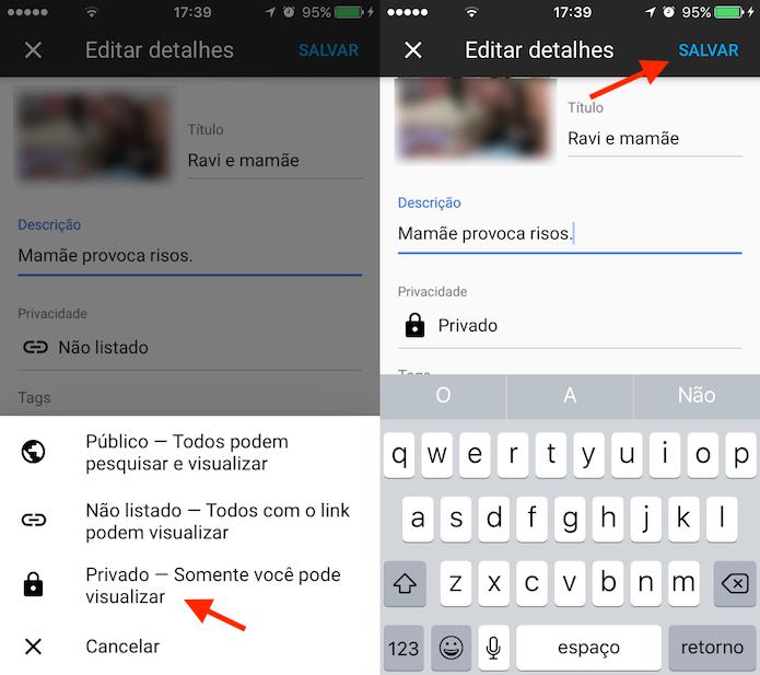 Opção para editar a privacidade de um vídeo em um canal do YouTube (Foto: Reprodução/Marvin Costa)