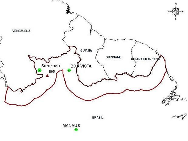 Triângulo vermelho mostra local onde pista clandestina foi ataca por caças da FAB neste sábado (12) (Foto: Divulgação/FAB)
