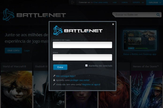 Acesse sua conta na Battle.net (Foto: Reprodução / Dario Coutinho)