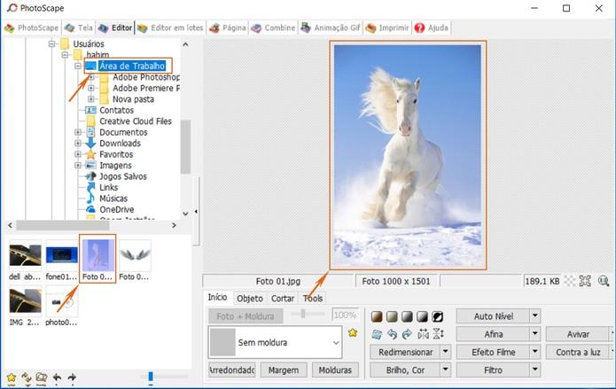Encontre a foto principal para editar no PhotoScape  (Foto: Reprodução/Barbara Mannara)