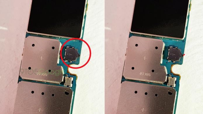 Em destaque o diminuto sensor de presença da caneta stylus S-Pen (Foto: Reprodução/9to5Google)