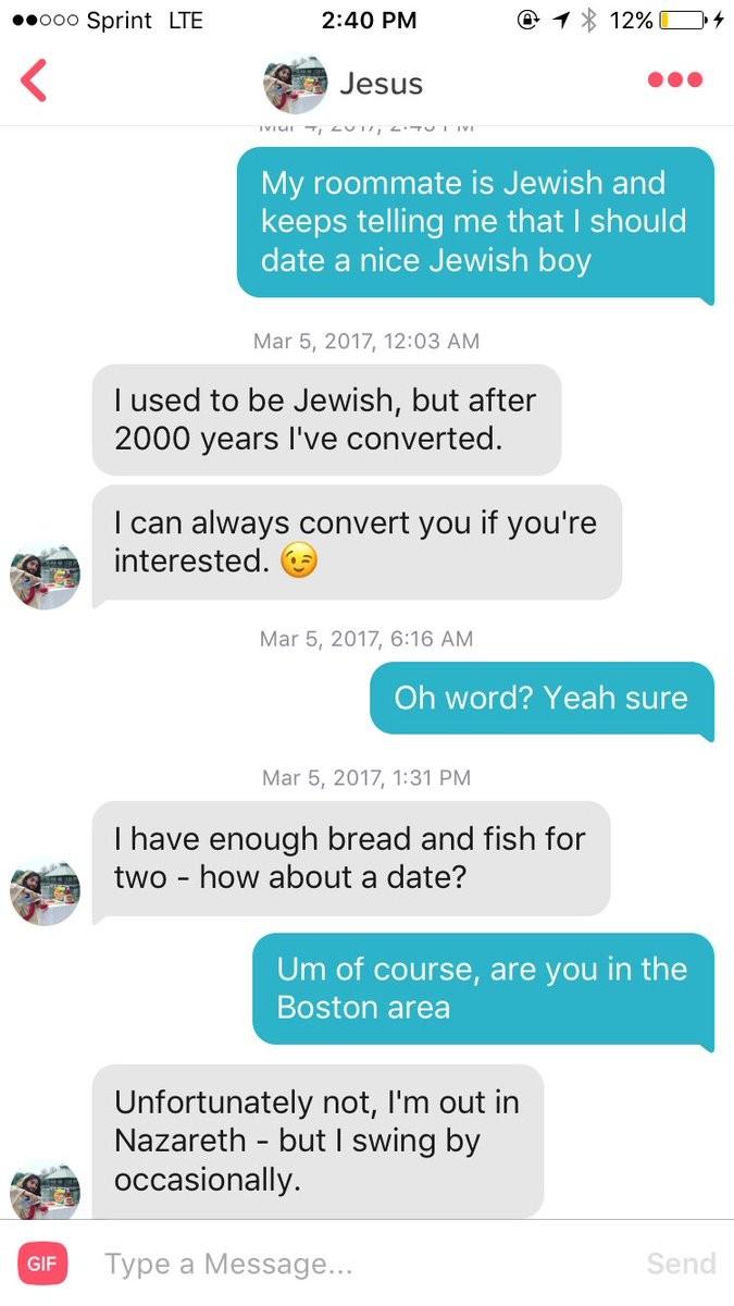 Jesus fazendo milagres no Tinder (Foto: Reprodução/Twitter)