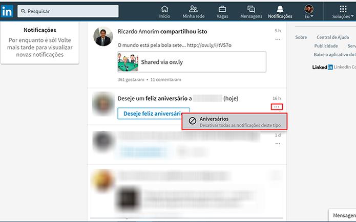 Selecione opção para desativar notificações para ocultar certos alertas no LinkedIn   (Foto: Reprodução/Elson de Souza)