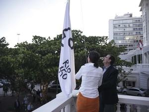 Prefeito Eduardo Paes participou da cerimônia (Foto: Divulgação / Comitê Rio 450)