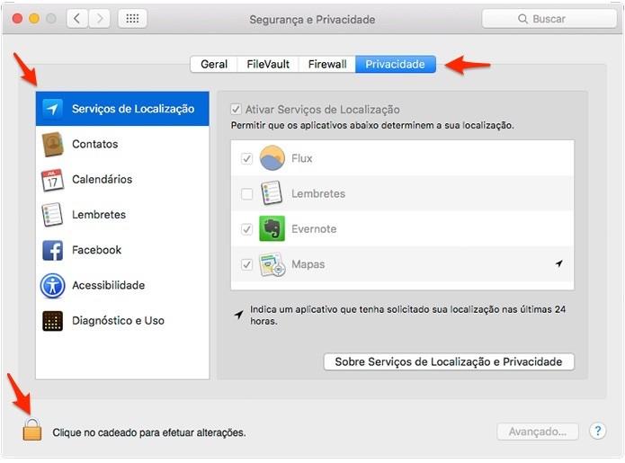 É preciso clicar no cadeado e inserir a senha do usuário para fazer alterações. (Foto: Reprodução/Alessandro Junior)