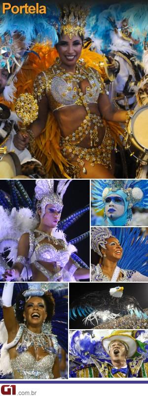 Fotos do desfile da Portela (Foto: Editoria de Arte/G1)