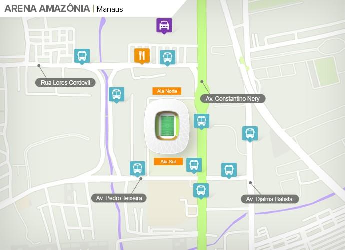 Mapa de acesso às ruas da Arena da Amazônia (Foto: Googlee Maps / Infografia GloboEsporte.com)