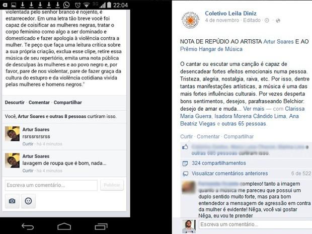 Coletivo publicou nota de repúdio em sua página no Facebook (Foto: Reprodução/Facebook)