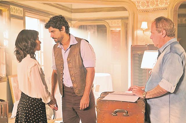 Jayme Monjardim (direita) com Bruno Cabrerizo (esquerda) e Andreia Horta (Foto: TV GLOBO/JOÃO MIGUEL JUNIOR)