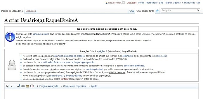 Faça uma conta na Wikipédia para ter acesso a todas as funções (Foto: Reprodução/Raquel Freire)
