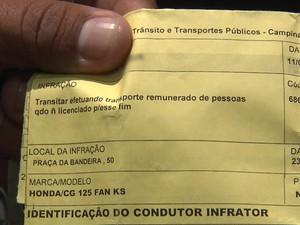 Mototaxistas estariam sendo multados por transportar passageiros sem licença (Foto: Reprodução/TV Paraíba)