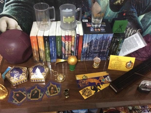 Livros e objetos com tema Harry Potter no quarto da universitária brasiliense Alicia Cristina Ribeiro Balbuena (Foto: Alicia Cristina Ribeiro Balbuena/Arquivo Pessoal)
