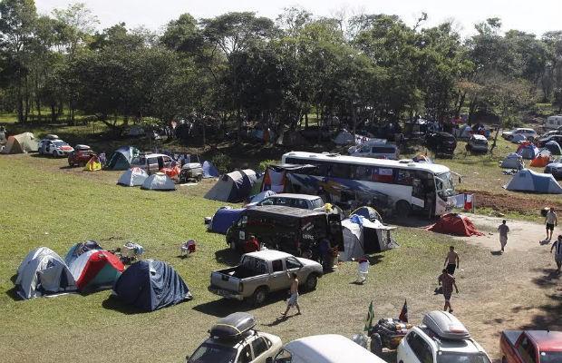 Acampamento chileno no Rio de Janeiro (Foto: Gabriel de Paiva)