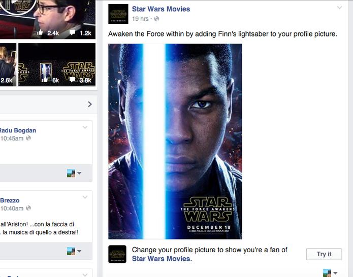 Foto no perfil do Facebook pode ganhar filtro de Stars Wars com sabre de luz (Foto: Reprodução/Facebook)