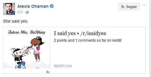 Alexis Ohanian comemora noivado (Foto: Reprodução)
