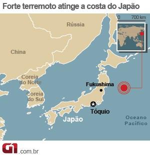 mapa terremoto japão (Foto: Arte/G1)