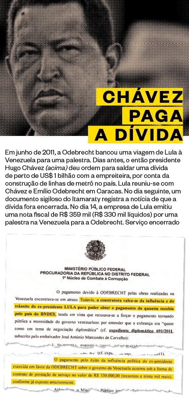 CHÁVEZ PAGA A DÍVIDA Em junho de 2011, a Odebrecht bancou uma viagem de Lula à Venezuela para uma palestra (Foto: Desmond Boylan/Reuters)