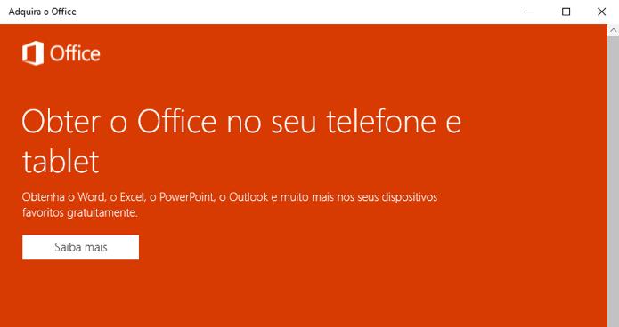 Office é gratuito só em dispositivos móveis (Foto: Reprodução/Paulo Alves)