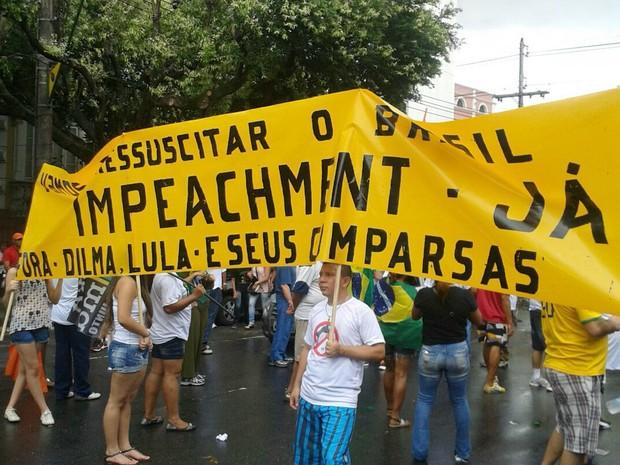 Entre outras reivindicações, está o pedido de impeachment da presidente Dilma  (Foto: Manoela Moura/Arquivo pessoal)