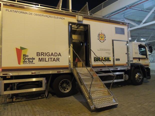 Teste segurança copa do mundo plataforma elevada (Foto: Paula Menezes/G1)