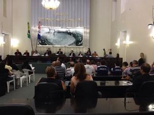 Representantes das corporações comentam crimes contra policiais (Foto: Micaelle Morais/G1)