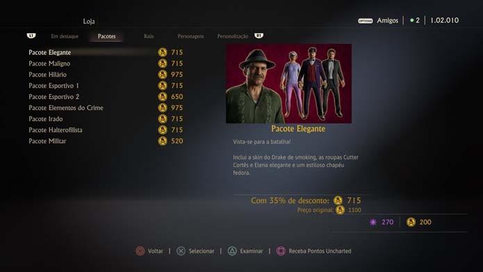 Confira os pacotes de Uncharted 4 (Foto: Reprodução/Murilo Molina)